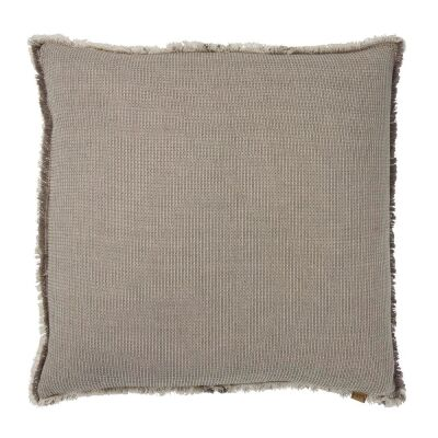 Waffle Feather Filled Chambray Cotton Scatter Cushion, Charcoal
