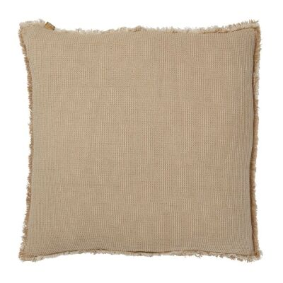 Waffle Feather Filled Chambray Cotton Scatter Cushion, Taupe