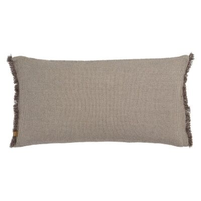 Waffle Feather Filled Chambray Cotton Lumbar Cushion, Charcoal