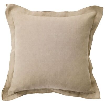 Louisa Feather Filled French Linen Frill Scatter Cushion, Taupe