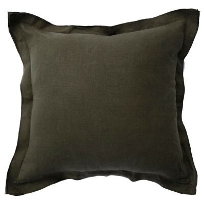 Louisa Feather Filled French Linen Frill Scatter Cushion, Olive