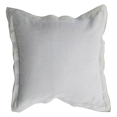 Louisa Feather Filled French Linen Frill Scatter Cushion, Light Grey