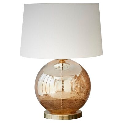 Lustre Glass Table Lamp, Ball, Pale Gold