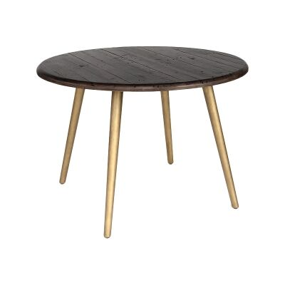 Lineo Reclaimed Timber Round Dining Table, Metal Leg, 120cm