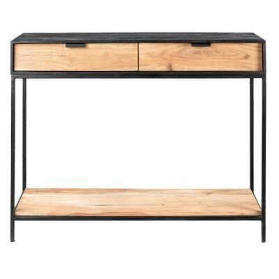 Luca Metal & Timber Console Table, 100cm
