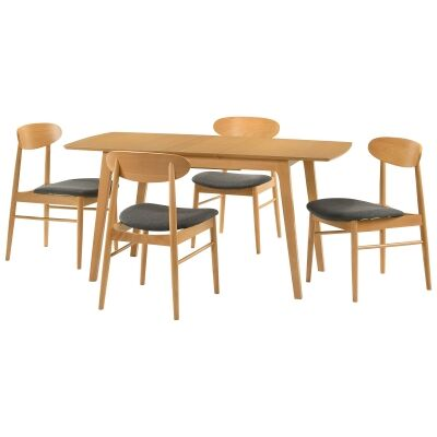 Knox 5 Piece Beech Timber Extension Dining Table Set, 120-150cm, Wheat