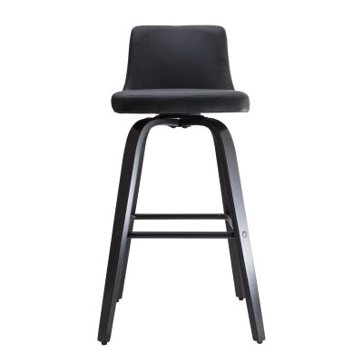 Matera Commercial Grade Bentwood Swivel Bar Chair, Faux Leather Seat, Black