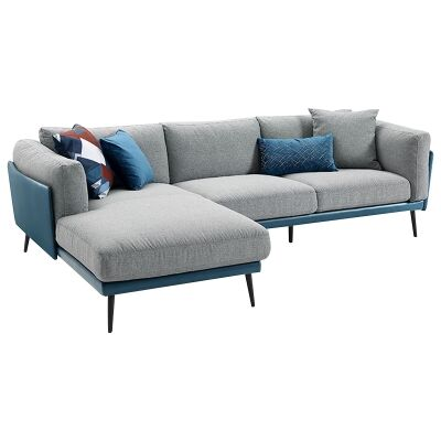 Nia Fabric & Faux Leather Corner Sofa, 3 Seater with LHF Chaise, Blue / Light Grey