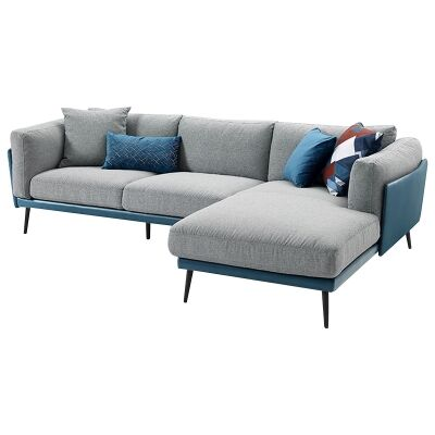 Nia Fabric & Faux Leather Corner Sofa, 3 Seater with RHF Chaise, Blue / Light Grey