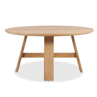 Kingscliff Teak Timber Outdoor Round Dining Table, 150cm