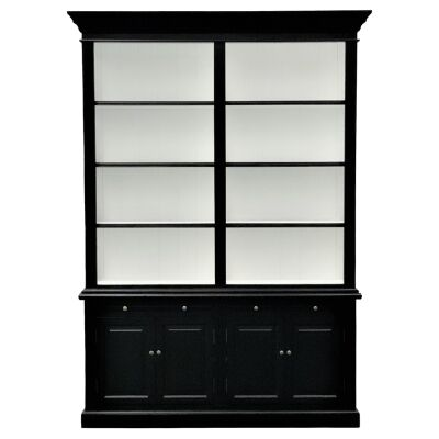 Ampuis 2-Bay Birch Timber Library Bookcase, Black