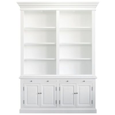Ampuis 2-Bay Birch Timber Library Bookcase, White