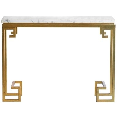 Cleopatra Marble Top Iron Console Table, Gold