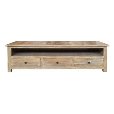 Fauchey Reclaimed Elm Timber 3 Drawer TV Unit, 190cm, Natural