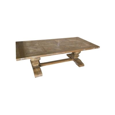 Fauchey Reclaimed Elm Timber Pedestal Coffee Table, 140cm, Natural