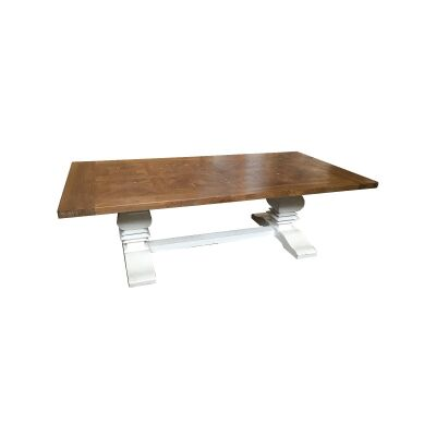 Fauchey Reclaimed Elm Timber Pedestal Coffee Table, 140cm, Natural / Distressed White