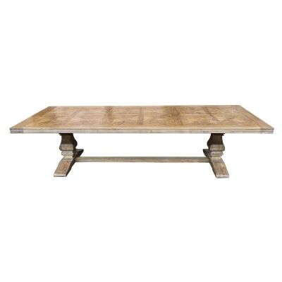 Fauchey Reclaimed Elm Timber Pedestal Dining Table, 320cm, Natural