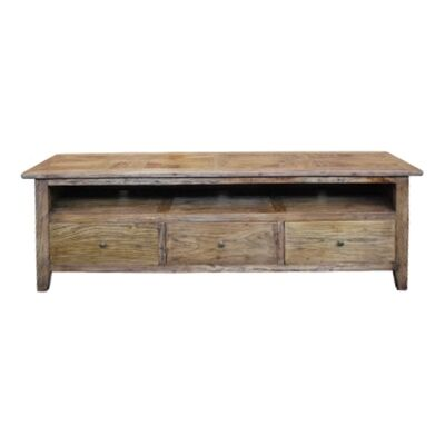 Auberge Parquetry Reclaimed Elm Timber 3 Drawer TV Unit, 180cm
