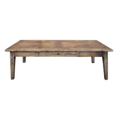 Auberge Parquetry Reclaimed Elm Timber Coffee Table, 135cm