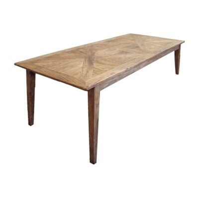 Auberge Parquetry Reclaimed Elm Timber Dining Table, 220cm