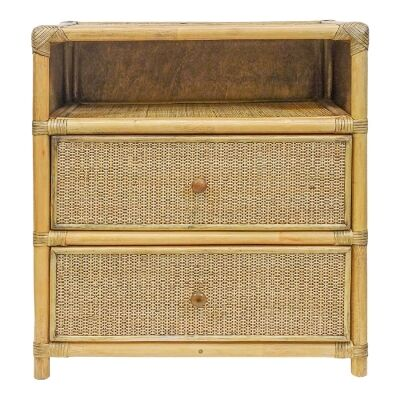 Benson Bamboo Rattan Bedside Table, Toffee