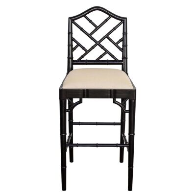Chippendale Mahogany Timber Counter Stool, Black