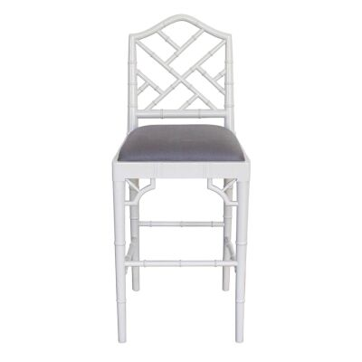 Chippendale Mahogany Timber Counter Stool, French Grey