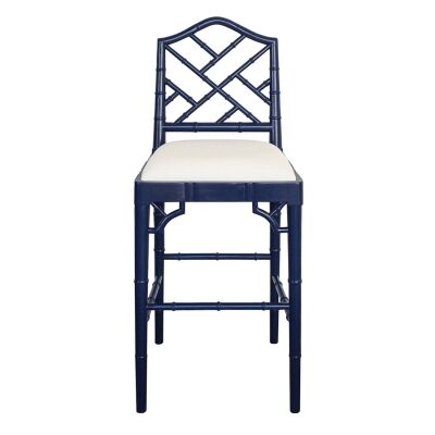 Chippendale Mahogany Timber Counter Stool, Navy