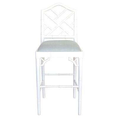 Chippendale Mahogany Timber Counter Stool, White