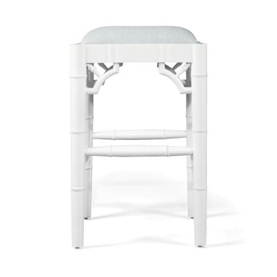 Chippendale Mahogany Timber Backless Counter Stool, White