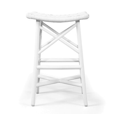 Serena Rattan Backless Counter Stool, White
