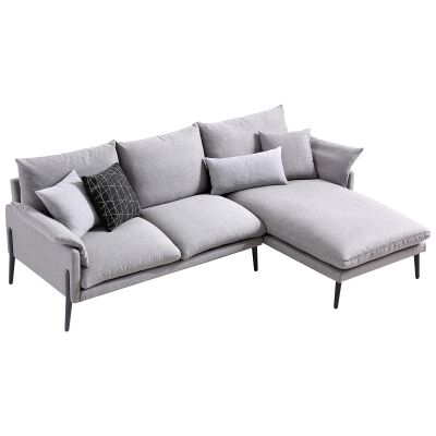 Tilly Fabric Corner Sofa, 3 Seater with RHF Chaise, Light Grey
