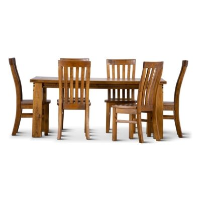Serafin Rustic Pine Timber 7 Piece Dining Table Set, 180cm, with Timber Seat Chair
