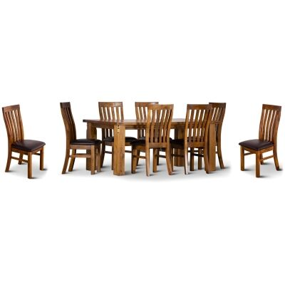 Serafin Rustic Pine Timber 9 Piece Dining Table Set, 210cm, with PU Seat Chair