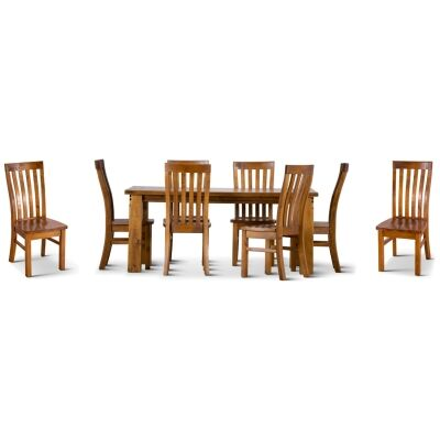 Serafin Rustic Pine Timber 9 Piece Dining Table Set, 210cm, with Timber Seat Chair