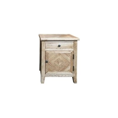 Ardentes Oak Timber Bedside Table, Right Open Door