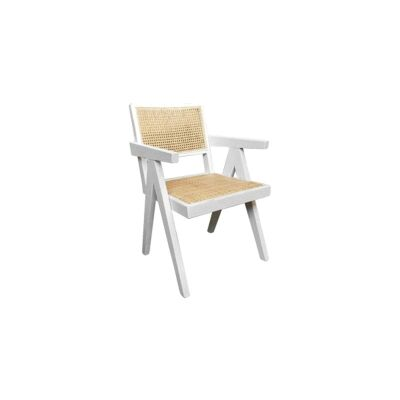 Maron Timber & Rattan Dining Armchair, White