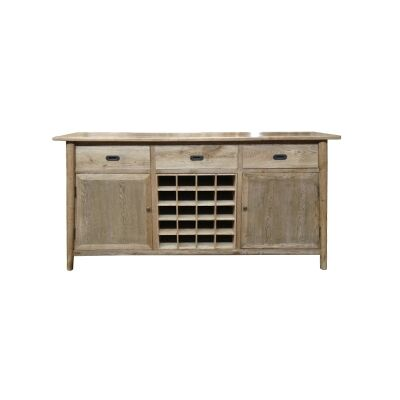 Lavialle Oak Timber 2 Door 3 Drawer Sideboard with Removable Wine Rack, 180cm
