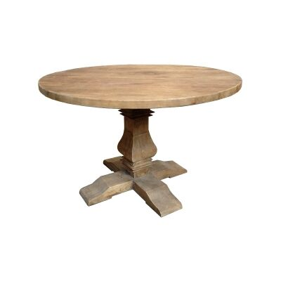 Broussey Reclaimed Elm Timber Round Pedestal Dining Table, 120cm