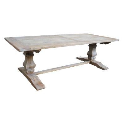 Broussey Reclaimed Elm Timber Pedestal Dining Table, 245cm