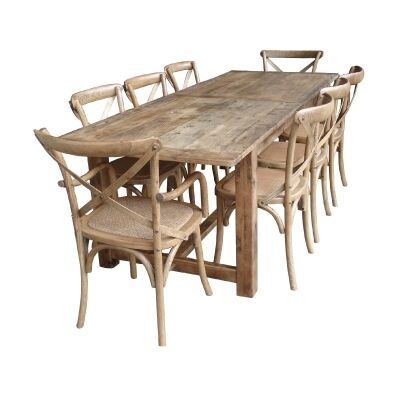Barcas Rustic Timber Farmhouse Dining Table (Table Only), 240cm