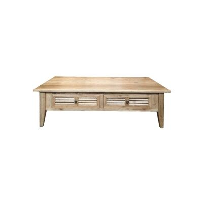 Croix Oak Timber 2 Drawer Coffee Table, 130cm