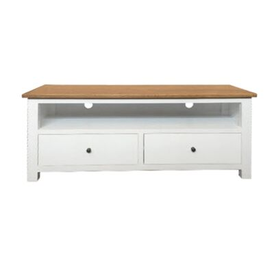 Lucia Oak Timber 2 Drawer TV Unit, 140cm, Natural / Distressed White