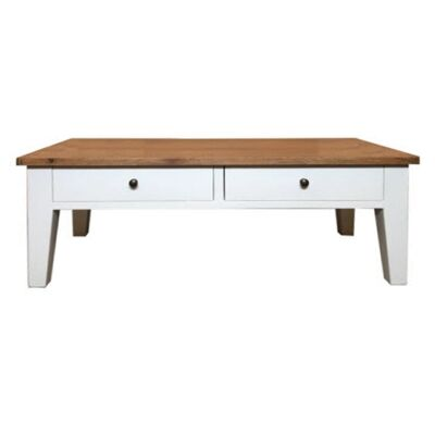 Lucia Oak Timber Coffee Table, 120cm, Natural / Distressed White