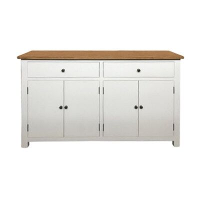 Lucia Oak Timber 4 Door 2 Drawer, 140cm, Natural / Distressed White