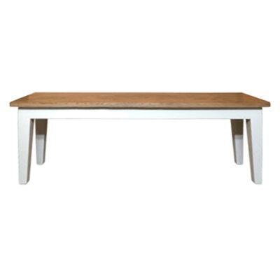 Lucia Oak Timber Dining Bench, 157cm, Natural / Distressed White