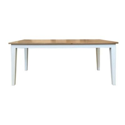 Lucia Oak Timber Dining Table, 180cm, Natural / Distressed White