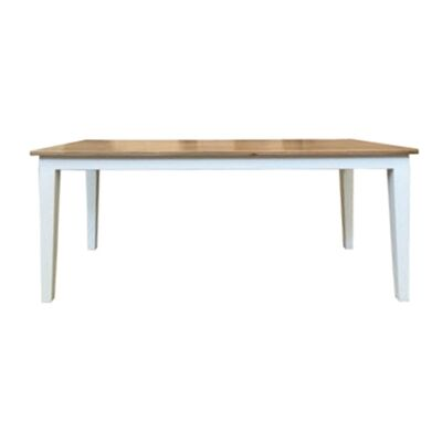 Lucia Oak Timber Dining Table, 200cm, Natural / Distressed White