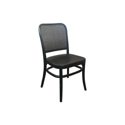 Aubres Timber & Rattan Dining Chair, Black