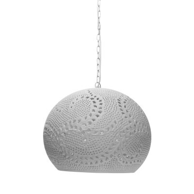 Coral Hand Cut Metal Dome Pendant Light, Large, White
